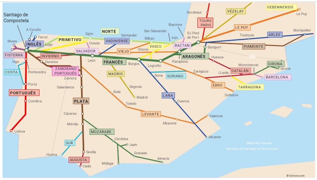 Mapa de las rutas jacobeas